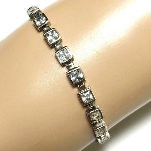 Sterling Silver Tennis Bracelet Clear Stones 8g